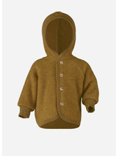Engel Natur hooded jacket with wooden buttons - saffron melange