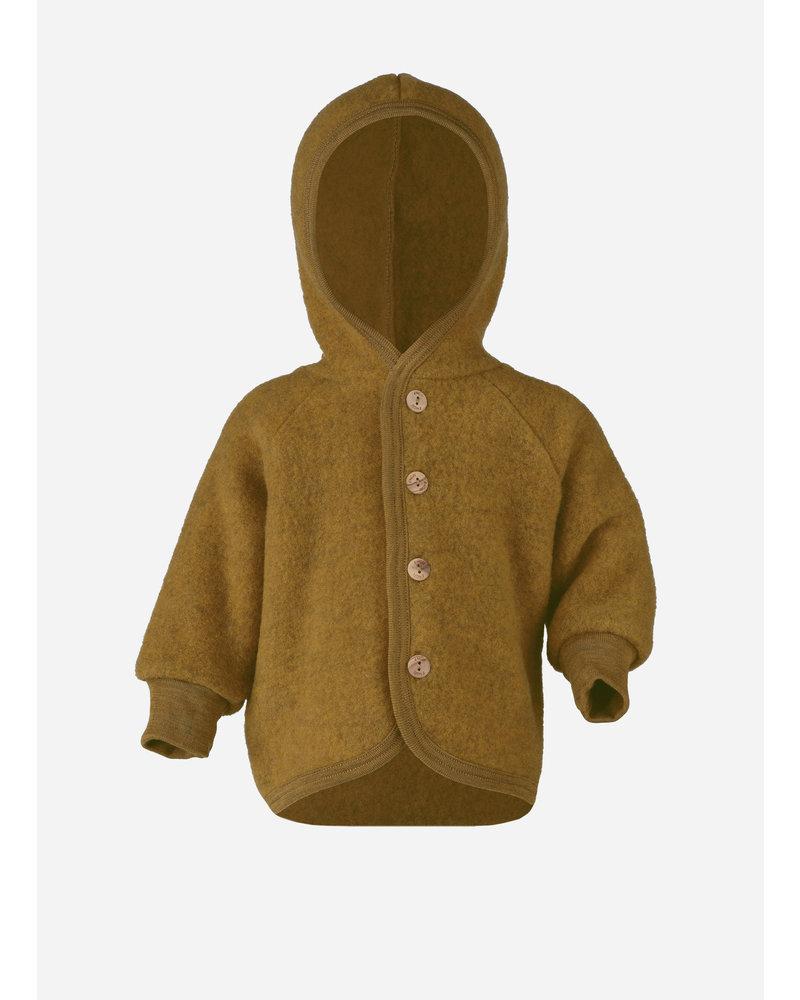 Engel Natur hooded jacket with wooden buttons - saffron melange
