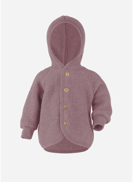 Engel Natur hooded jacket with wooden buttons - rosewood melange
