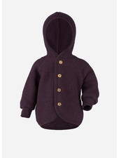 Engel Natur hooded jacket with wooden buttons - purple melange