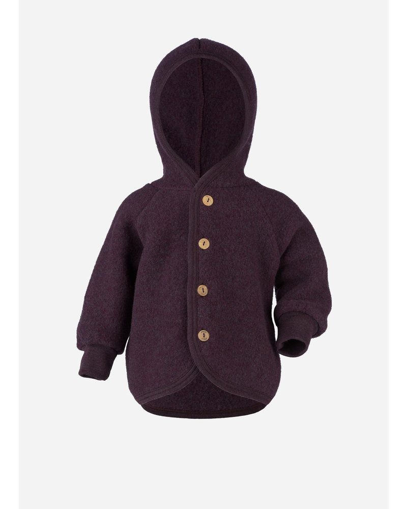 Engel Natur hooded jacket with wooden buttons - purple melange