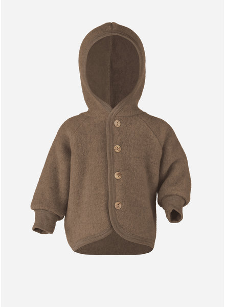 Engel Natur hooded jacket with wooden buttons - walnuss melange