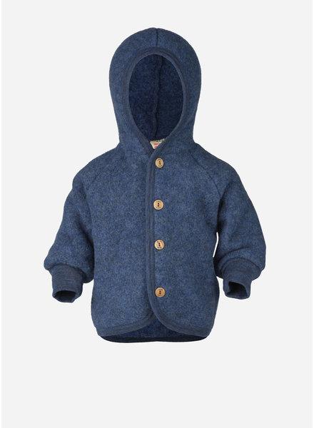 Engel Natur hooded jacket with wooden buttons - blue melange