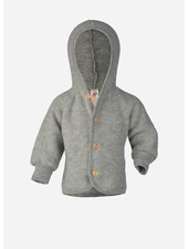 Engel Natur hooded jacket with wooden buttons - light grey melange