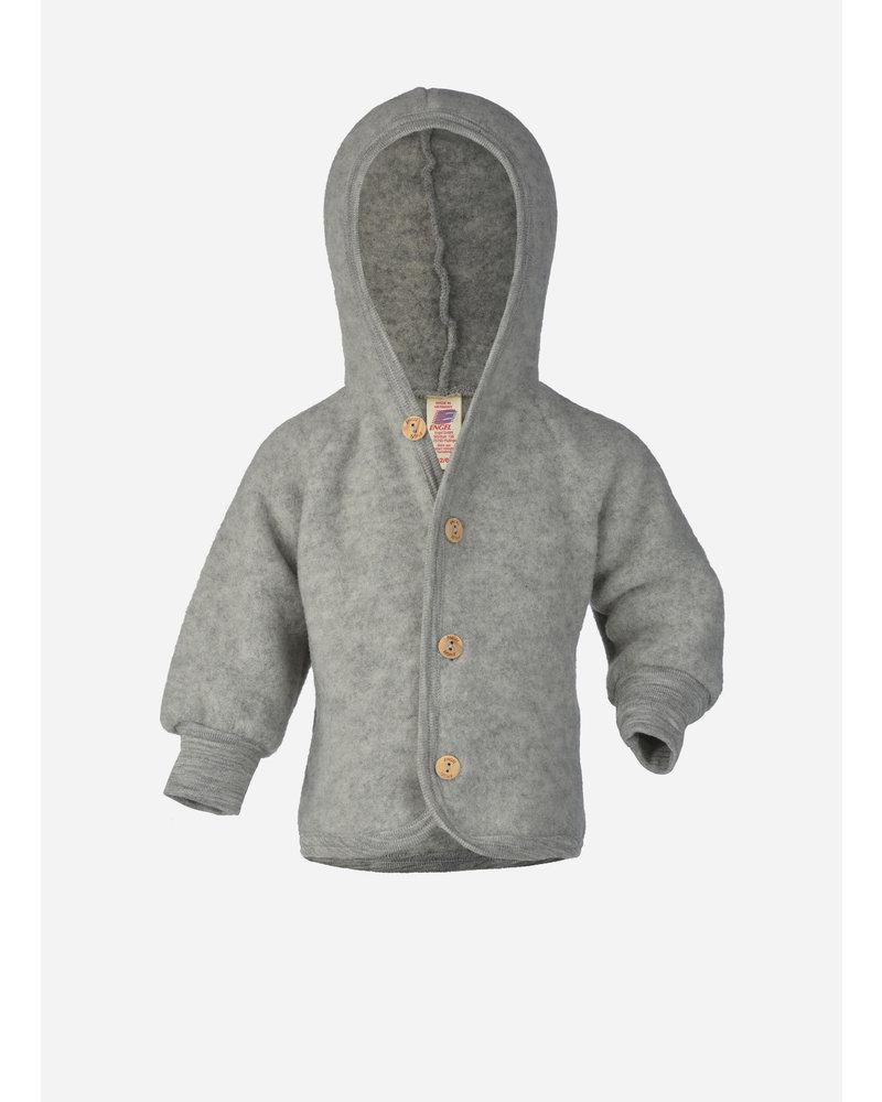 Engel Natur hooded jacket with wooden buttons - light grey melange