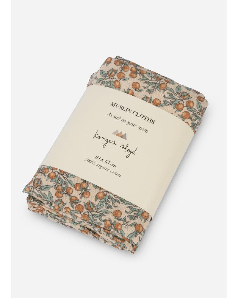 Konges Slojd 3 pack muslin cloth orangery beige