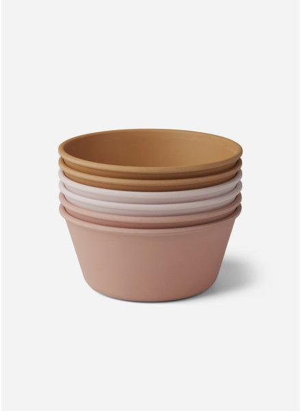 Liewood greta bamboo bowl 6 pack - rose multi mix