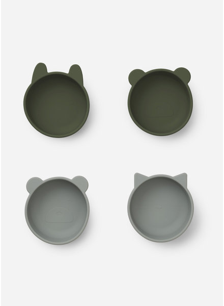 Liewood iggy silicone bowls 4 pack - hunter green mix