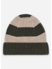 Konges Slojd witum knit beanie - dark olive creamy white