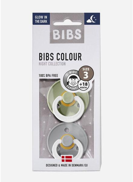 Bibs *T3 fopspeen natuurrubber GLOW IN THE DARK sage - cloud
