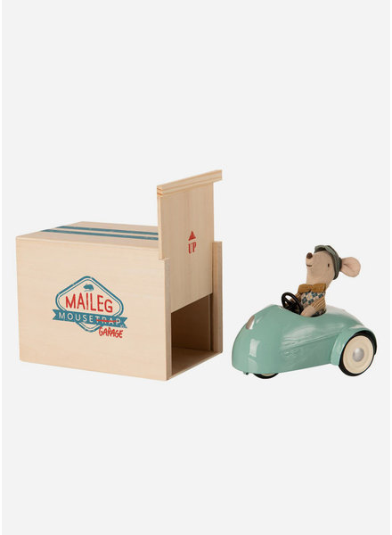 Maileg blue car with garage - little brother mouse