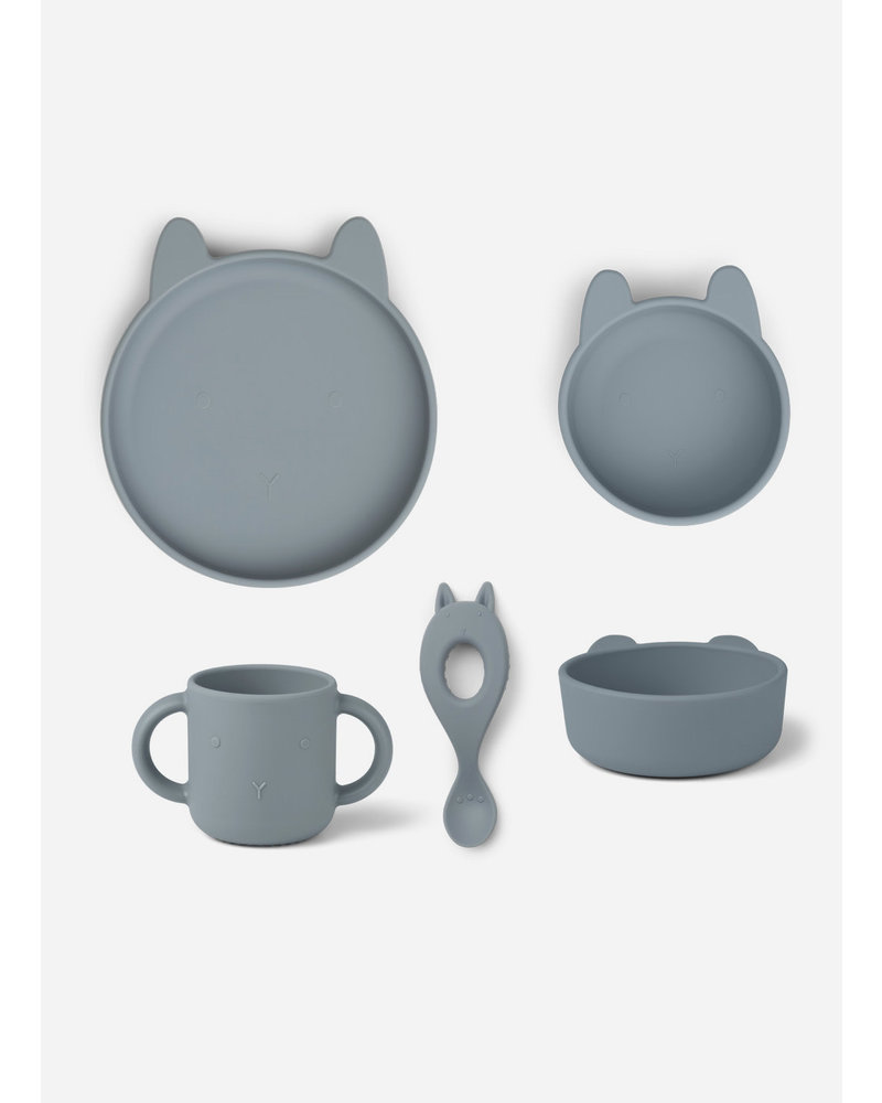 Liewood vivi silicone set - rabbit sea blue