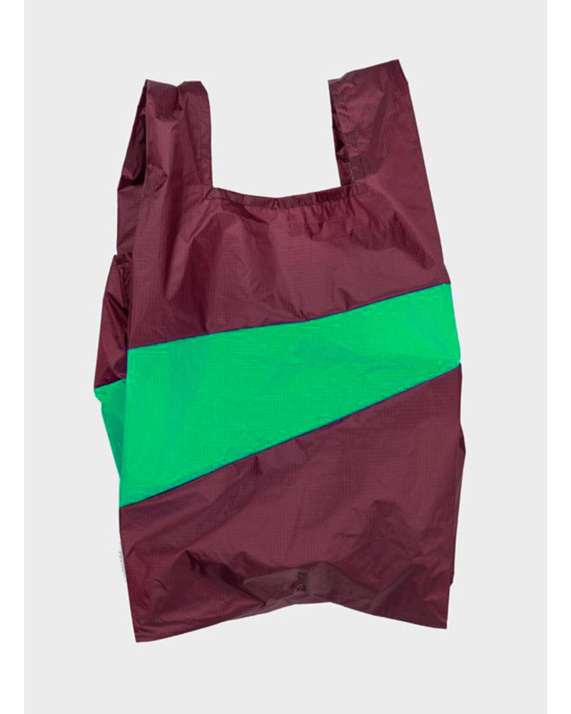 Susan Bijl shopping bag burgundy & greenscreen