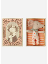 Maileg baby mouse sleepy wakey in box - girl