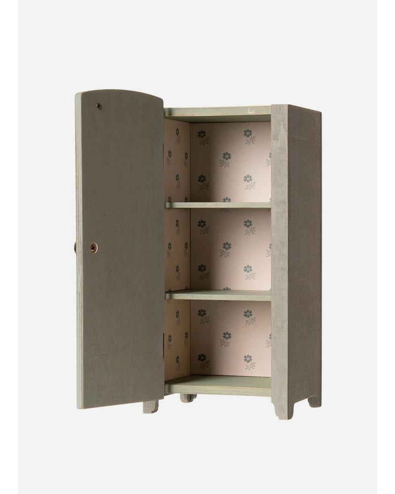 Maileg vintage closet with shelves mint-grey