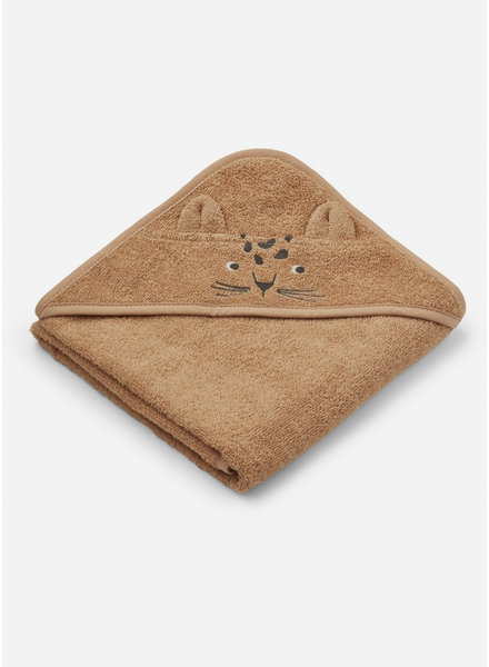 Liewood albert hooded towel - leopard apricot
