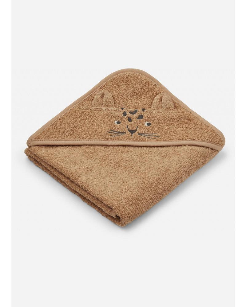Liewood albert hooded towel - leopard apricot
