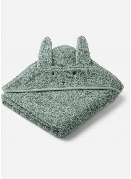Liewood albert hooded towel - rabbit peppermint