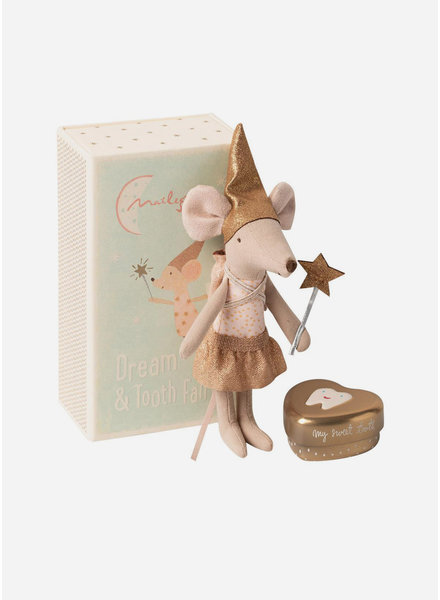 Maileg tooth fairy with metal box - big sister mouse