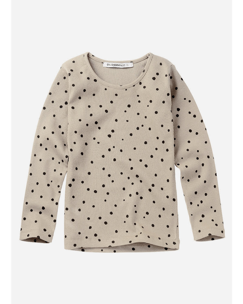 Mingo rib top - dot black white