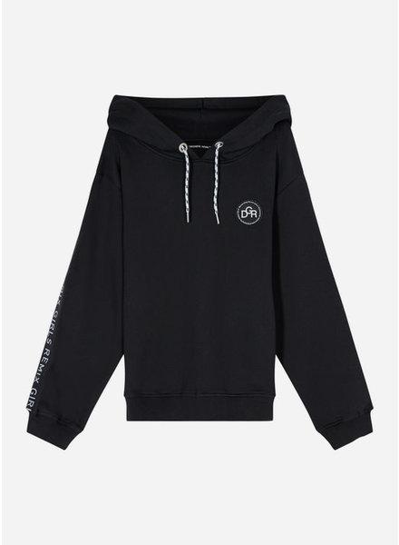 Designer Remix Girls parker logo hoodie - black