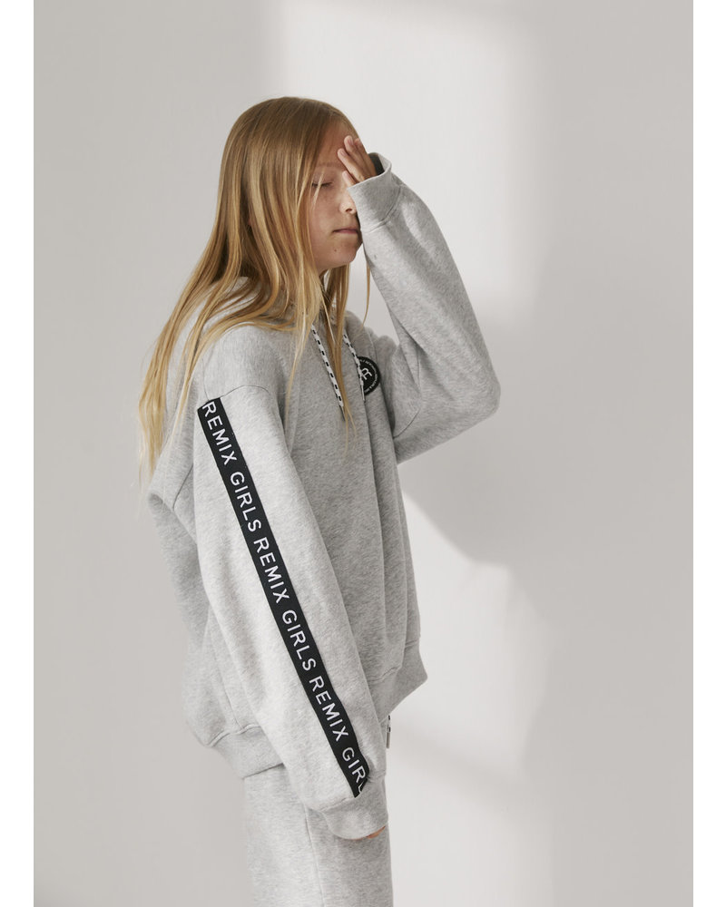 Designer Remix Girls parker logo hoodie - grey melange