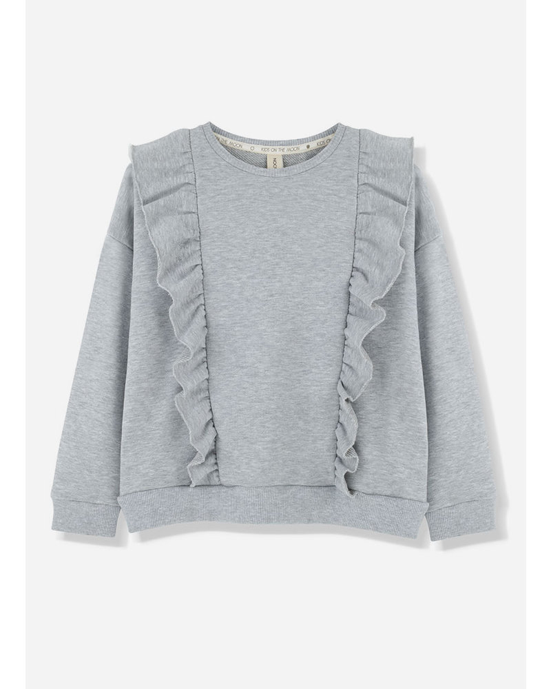 Kids on the moon grey cloud frill sweatshirt