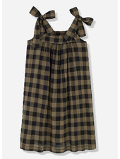 Kids on the moon khaki classic check bow dress