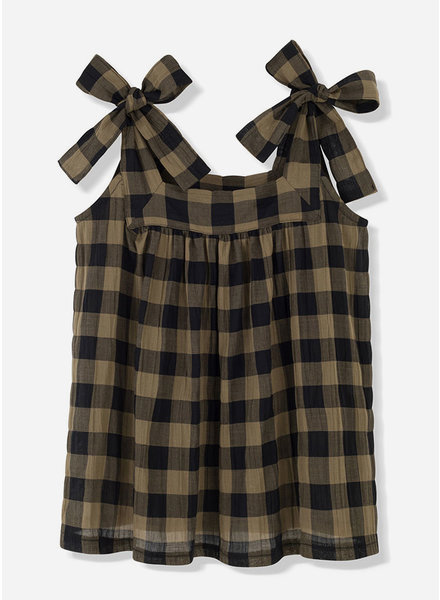 Kids on the moon khaki classic check bow top