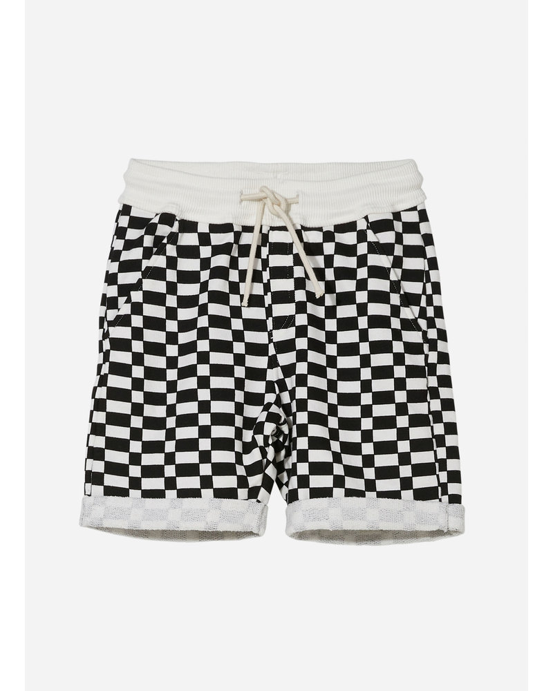 Finger in the nose new grounded checkers bermuda - ash black off white