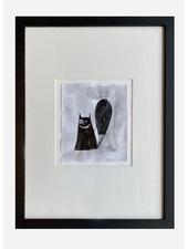 Pomme de Jus originele tekening in lijst met passepartout - A4 - smiling cat