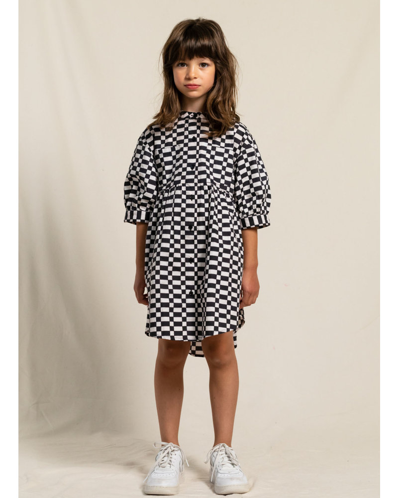 Finger in the nose swing checkers short sleeve shirt dress - ash black off white