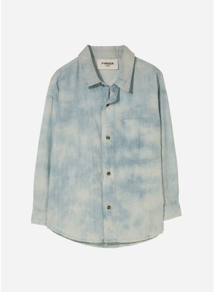 Finger in the nose mystery tie & dye chest pocket shirt - bleached blue