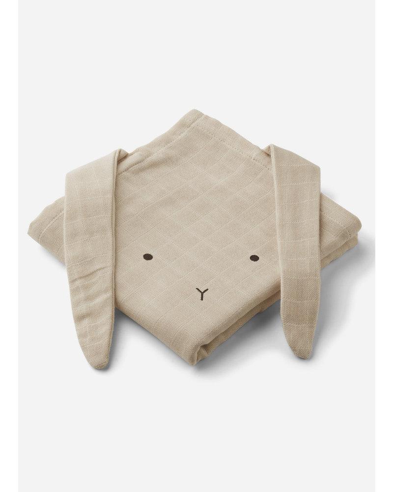 Liewood hannah muslin cloth 2 pack rabbit sandy