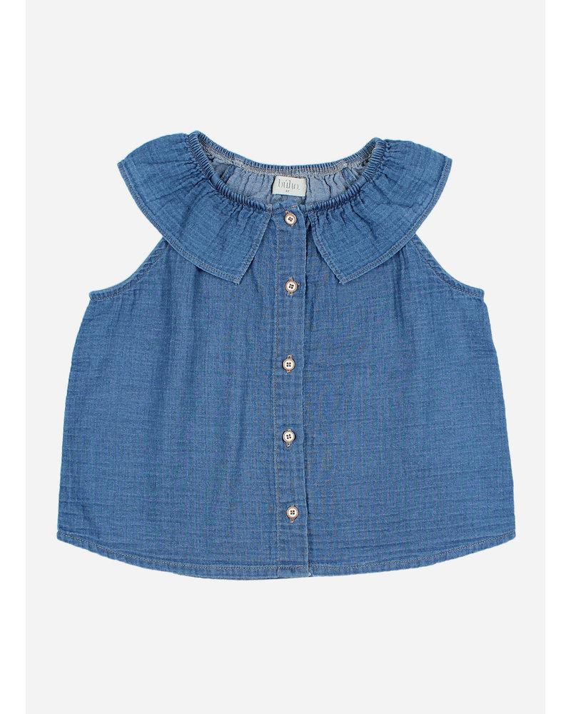 Buho sol denim blouse - indigo