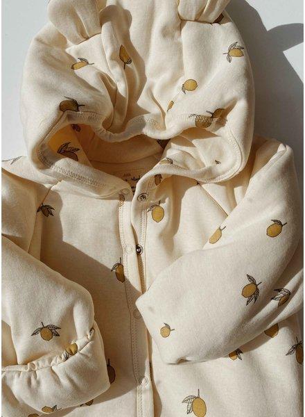 Konges Slojd new born onsie with hood lemon