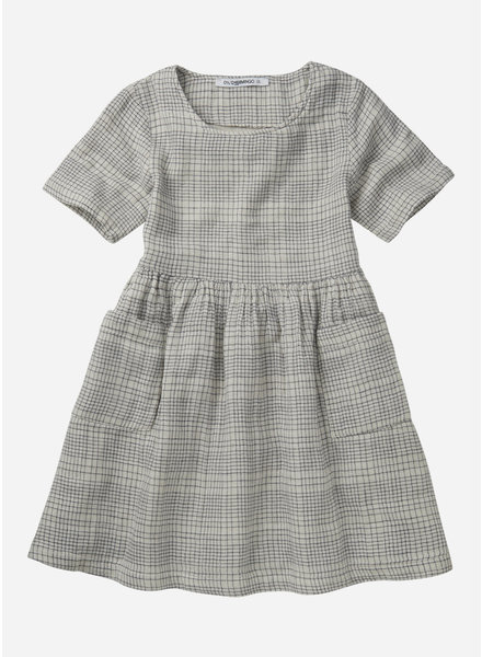Mingo dress short sleeve - block pattern white blue