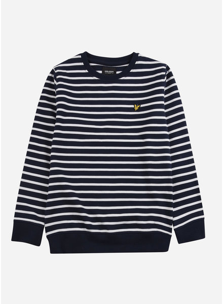 Lyle & Scott breton stripe lb crew sweat navy nlazer