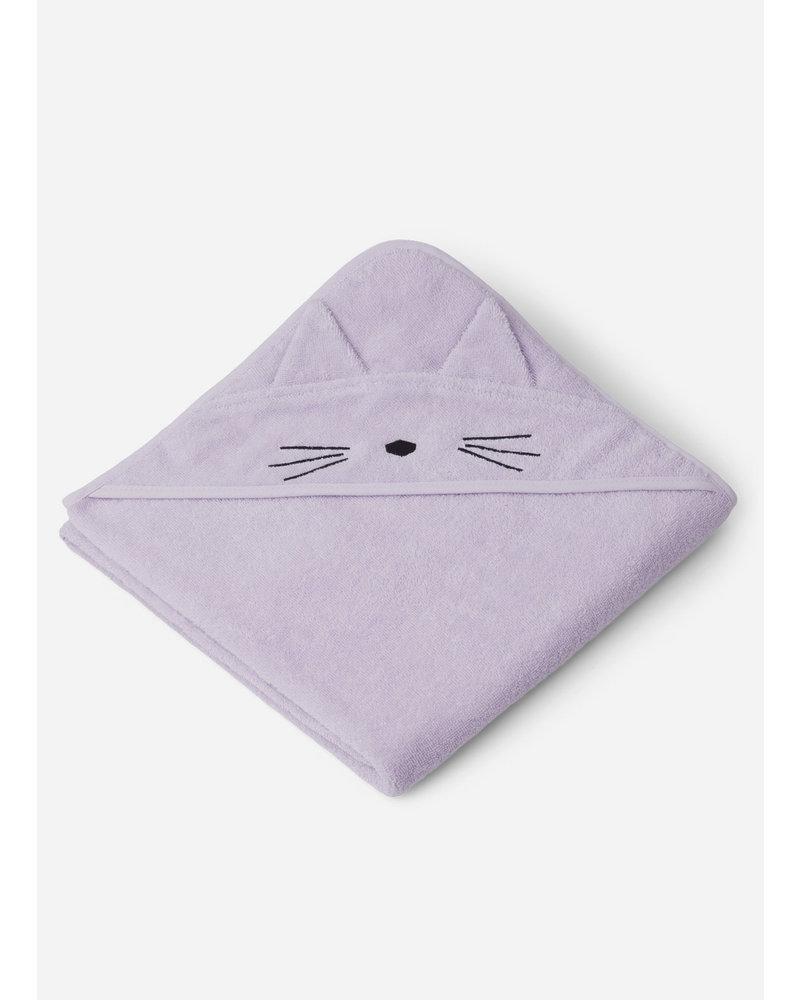Liewood augusta hooded towel cat light lavender