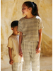 Mingo tapered trousers - block pattern white blue