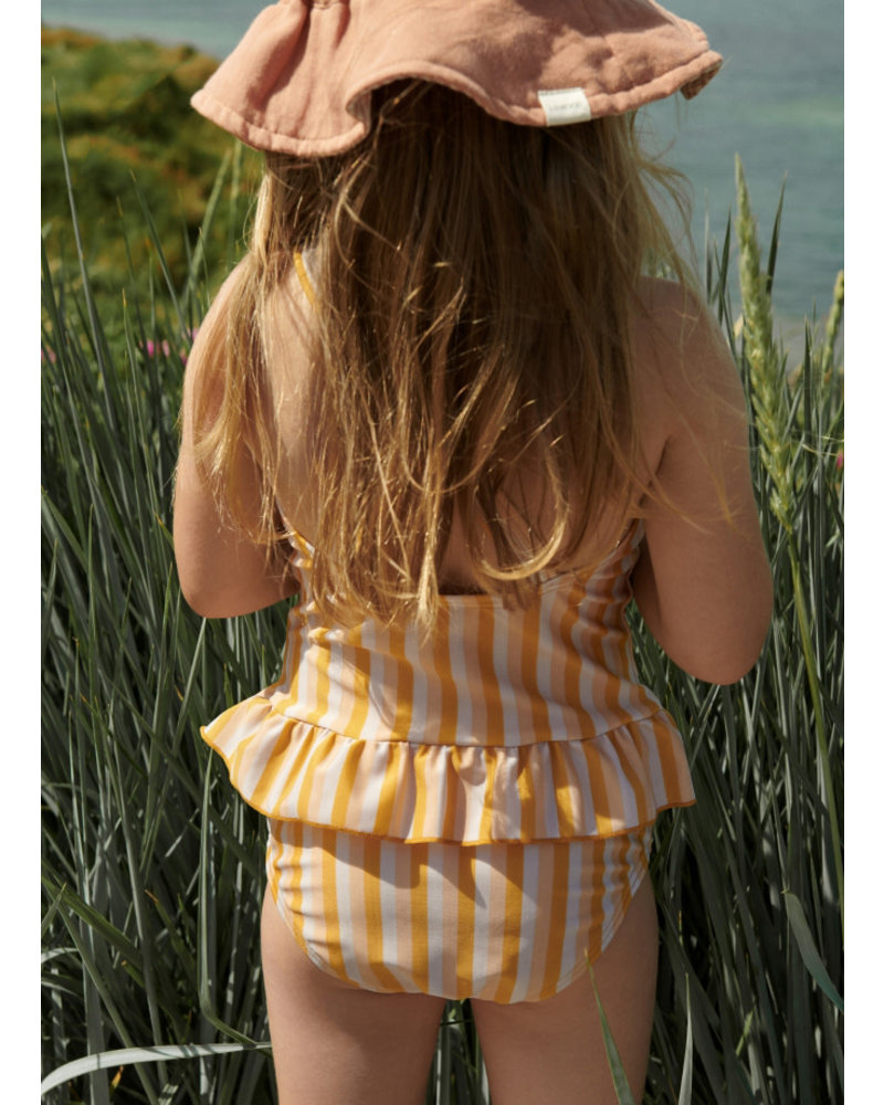 Liewood amara swimsuit stripe peach/sandy/yellow mellow