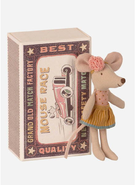 Maileg little sister mouse in a match box
