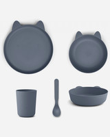 Liewood paul tableware set rabbit blue wave