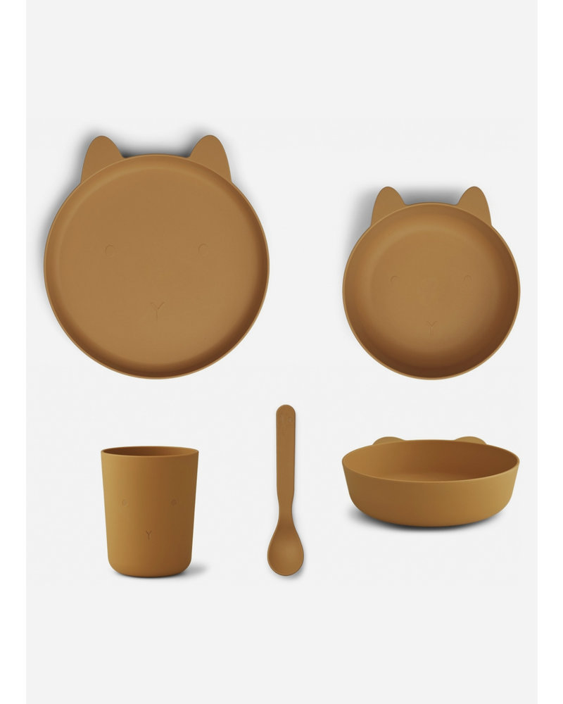 Liewood paul tableware set rabbit mustard
