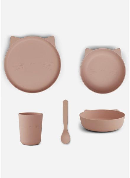 Liewood paul tableware set cat rose blush