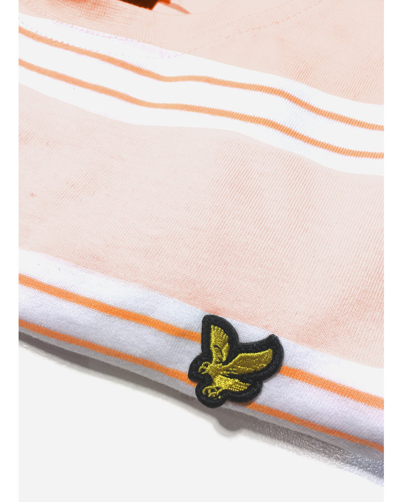Lyle & Scott multi stripe t shirt primrose pink