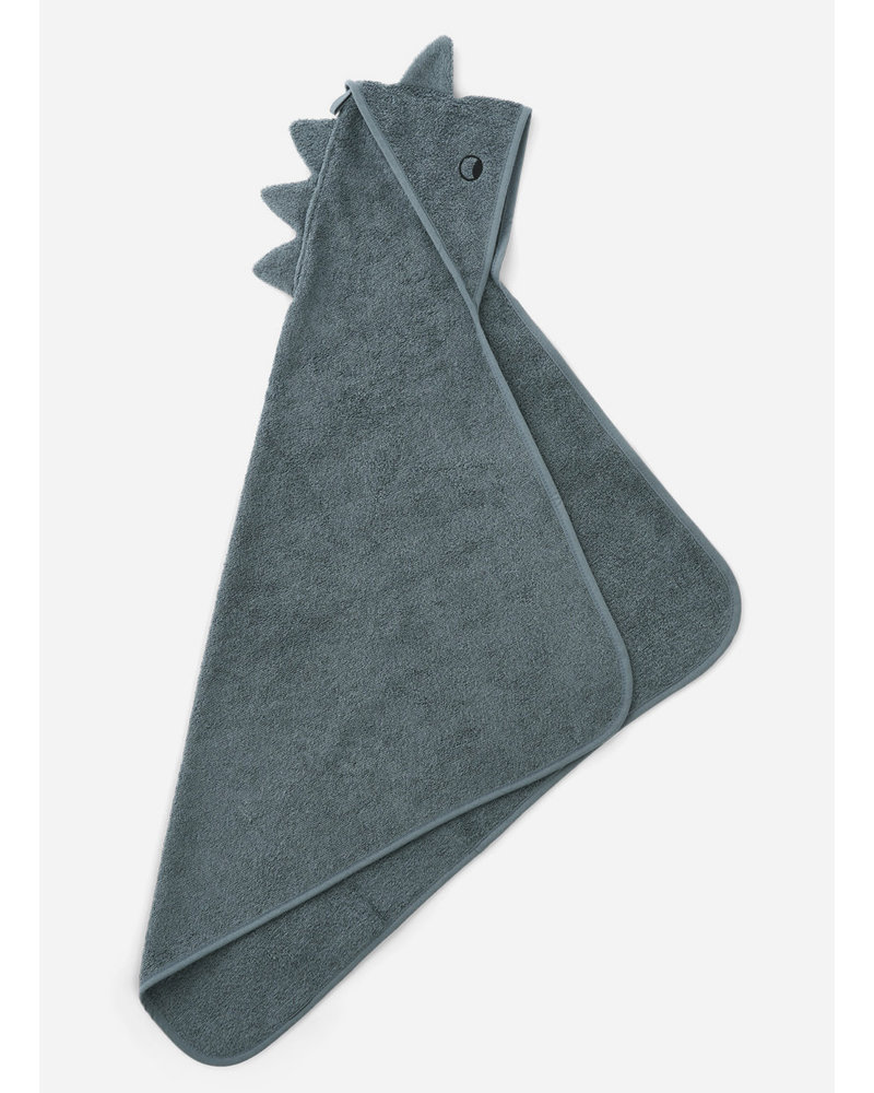 Liewood albert hooded towel dino whale blue