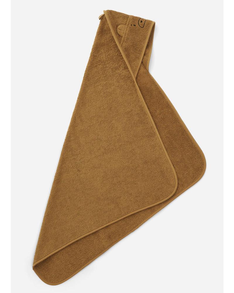 Liewood albert hooded towel mr bear golden caramel