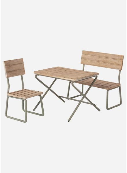 Maileg garden set table with chair and bench