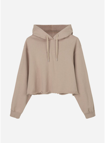 Designer Remix Girls willie embroidered cropped hoodie sand